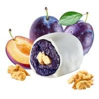 Dried prune in yoghurt glaze with walnut